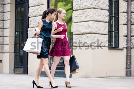 Young woman showing direction to her friend during shopping session Stock photo © Kzenon