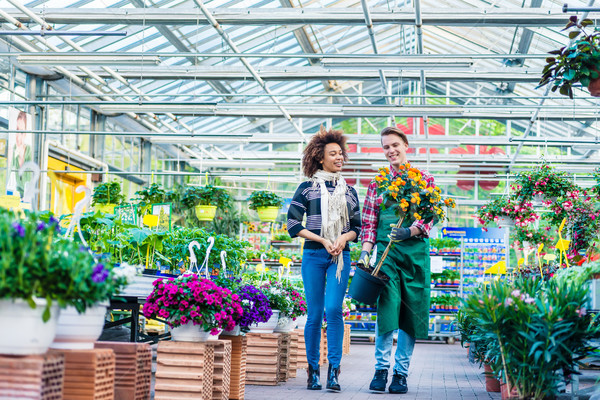 Handsome worker helping a customer with the purchase of a decorative houseplant Stock photo © Kzenon