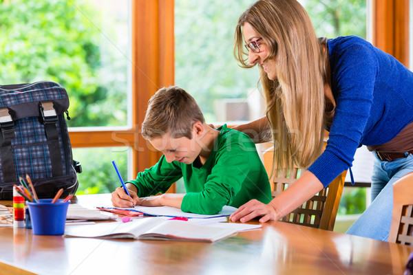 Mother helping with school homework assignment Stock photo © Kzenon