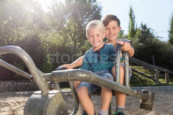 Iki erkek macera oyun alanı park aile Stok fotoğraf © Kzenon