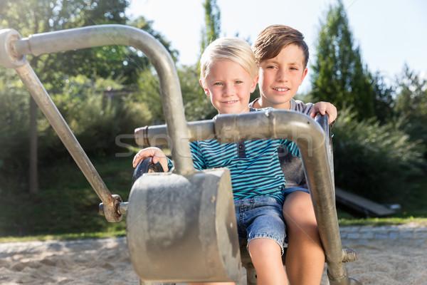 два мальчики Adventure площадка парка улице Сток-фото © Kzenon