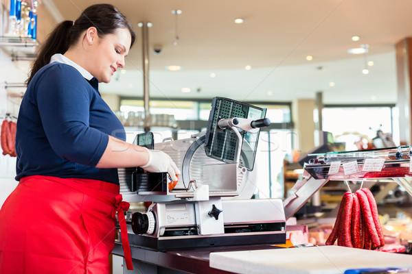 женщину мясник магазин бекон машина Сток-фото © Kzenon
