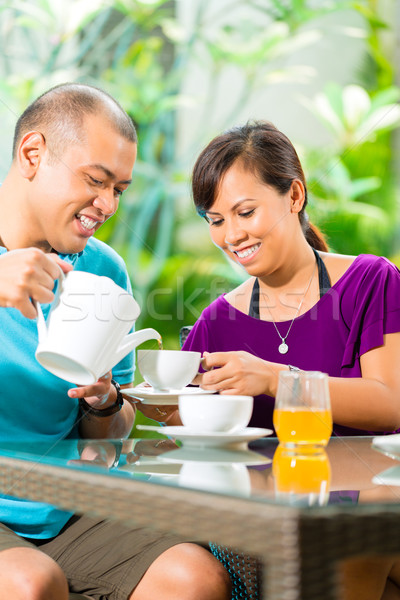 Asian para kawy domu weranda tropikalnych Zdjęcia stock © Kzenon