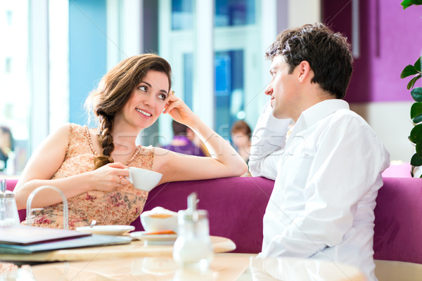 Young couple cafe drinking coffee Stock photo © Kzenon