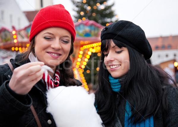 женщины Рождества рынке еды конфеты две женщины Сток-фото © Kzenon