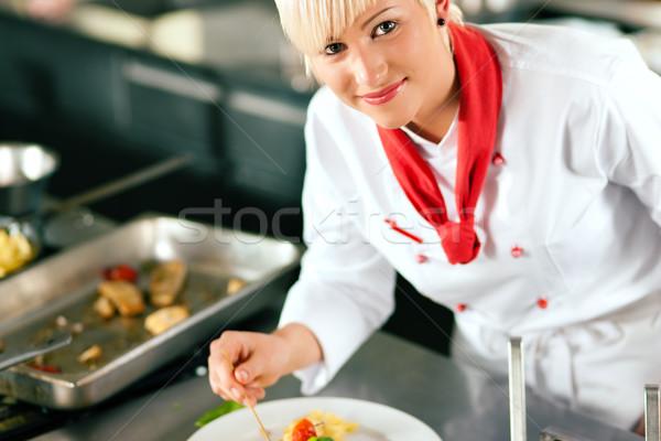 şef restoran mutfak pişirme kadın otel Stok fotoğraf © Kzenon