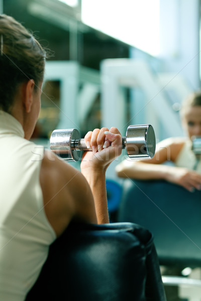 Dumbbells, training, mirror Stock photo © Kzenon
