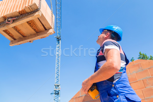 Crane driver deliver a pallet bricks on construction or building Stock photo © Kzenon