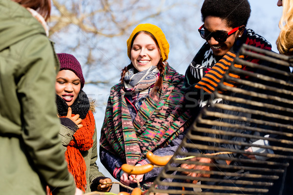 Multi-ethnic group of five young people having fun at barbecue Stock photo © Kzenon