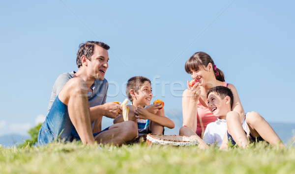 Family with two sons having a picnic with fruits in park in summ Stock photo © Kzenon