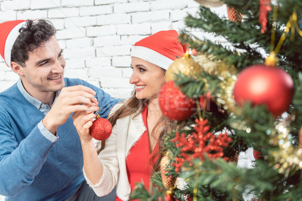 Couple at home decorating tree for Christmas Stock photo © Kzenon