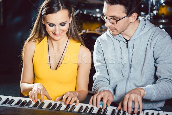 Foto d'archivio: Piano · giocatori · giocare · insieme · pezzo · musica