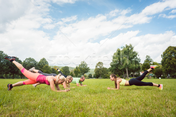Family planking outdoors in meadow with fitness teacher Stock photo © Kzenon