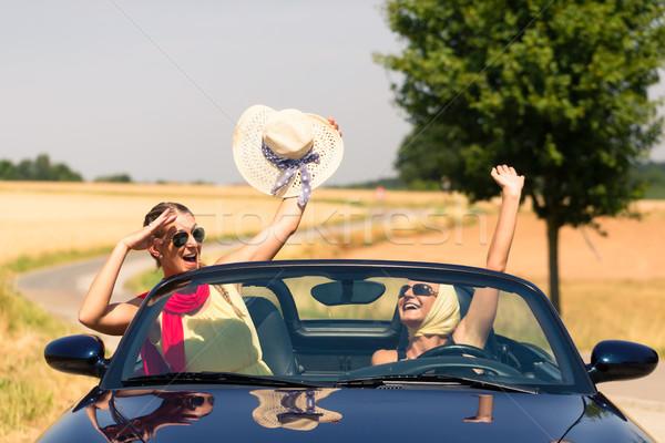 friends having summer joyride in convertible car  Stock photo © Kzenon