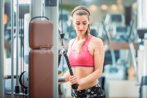 Feliz encajar mujer rosa fitness Foto stock © Kzenon