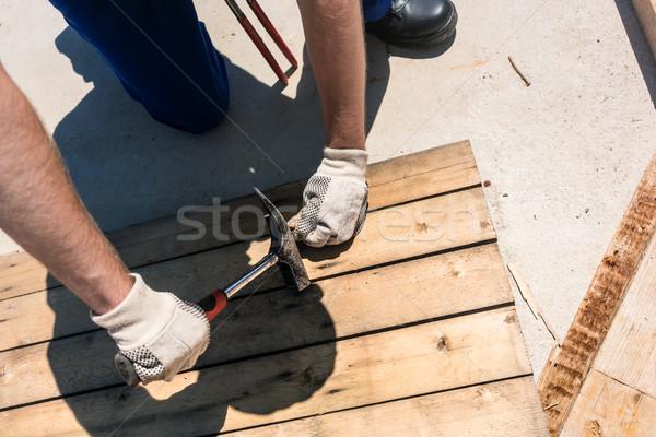 Stok fotoğraf: Görmek · işçi · çekiç · sarı