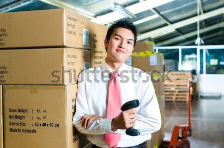 ügyfélszolgálat ázsiai logisztika raktár fiatal nő Stock fotó © Kzenon