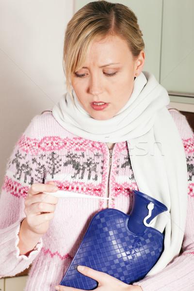 女性 インフルエンザ 温度 見える 計 ストックフォト © Kzenon