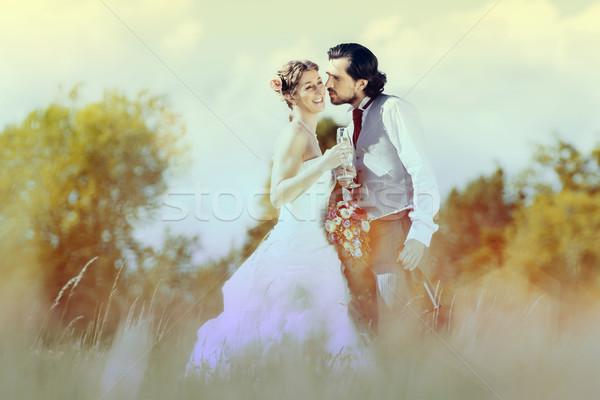 Wedding couple bride and groom on meadow Stock photo © Kzenon
