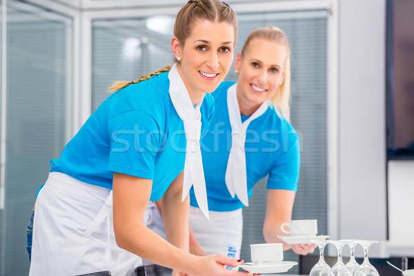Caterer preparing business lunch Stock photo © Kzenon