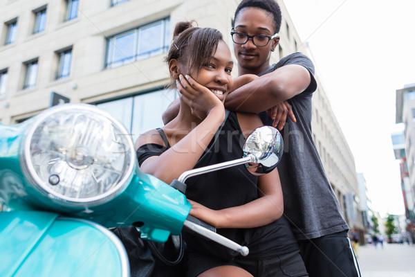 アフリカ系アメリカ人 青 スクーター 市 ストックフォト © Kzenon