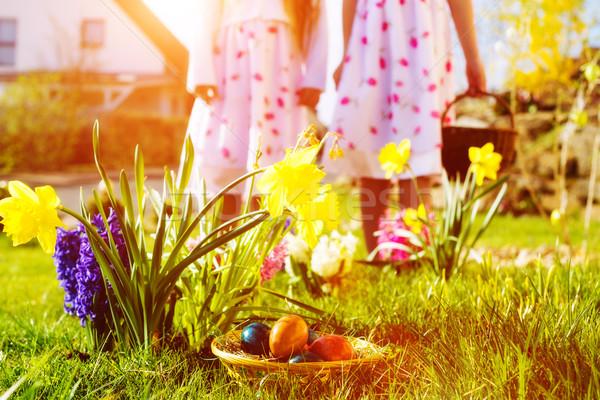 çocuklar easter egg hunt yumurta çayır bahar ön plan Stok fotoğraf © Kzenon