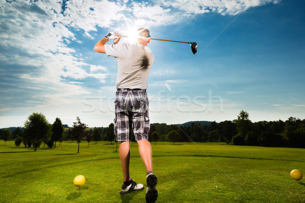 молодые гольф Swing человека спорт Сток-фото © Kzenon