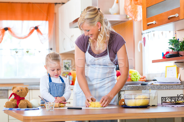 Mother and daughter baking cookies together Stock photo © Kzenon
