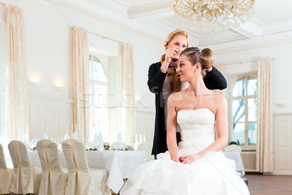 Stylist felfelé menyasszonyok hajviselet nő nők Stock fotó © Kzenon