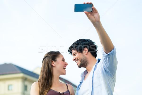 Fiatal turisták München belváros férfi nő Stock fotó © Kzenon