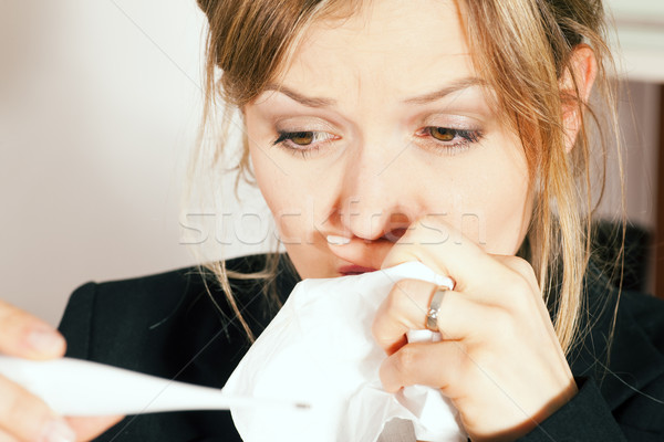 Woman with fever and cold Stock photo © Kzenon
