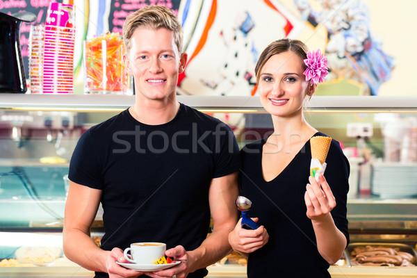 アイスクリーム 販売者 ウェイター 作業 カフェ アイスクリーム ストックフォト © Kzenon