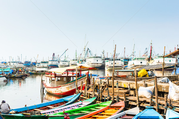 Harbour ship and boat docks in Jakarta, Indonesia Stock photo © Kzenon