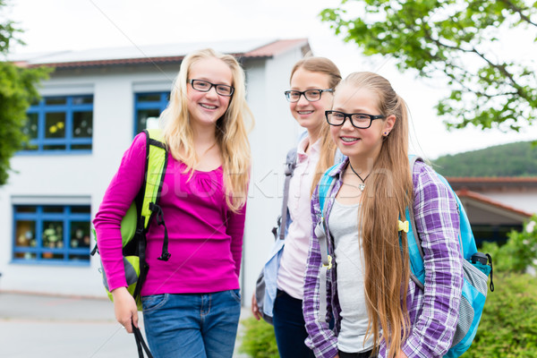 Group of students in recess standing at school Stock photo © Kzenon