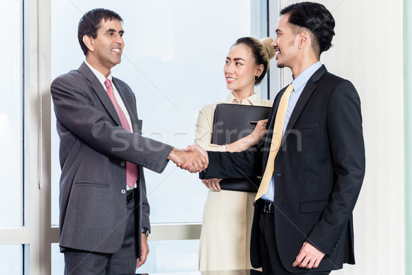 秘書 申請者 上司 アジア 握手 ストックフォト © Kzenon