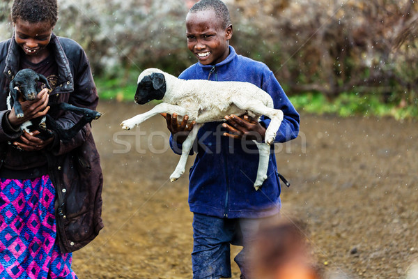 Massai children carrying goats in the rain Stock photo © Kzenon