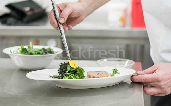 Chef cook finishing salad and pastry dish with pincers and flowe Stock photo © Kzenon