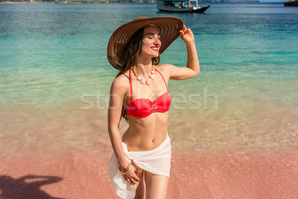 Fashionable young woman smiling while posing during summer vacation Stock photo © Kzenon
