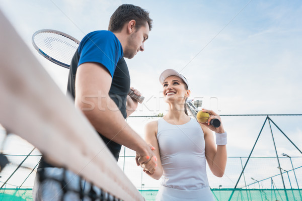 Teniszező férfi nő kézfogás gyufa net Stock fotó © Kzenon