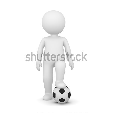3D Rendering of a man with one foot on a soccer ball Stock photo © Kzenon