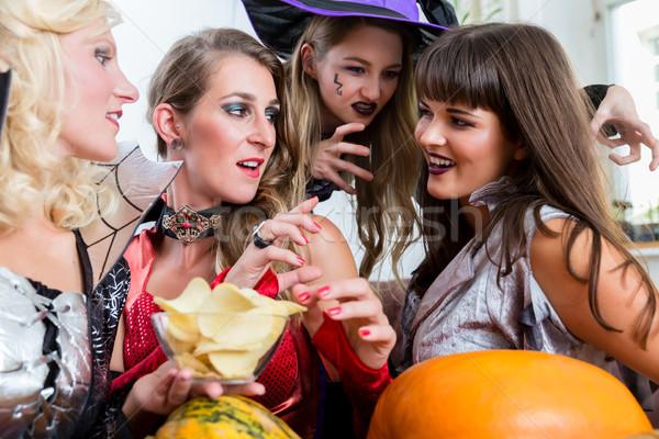 Dört güzel kadın halloween Stok fotoğraf © Kzenon