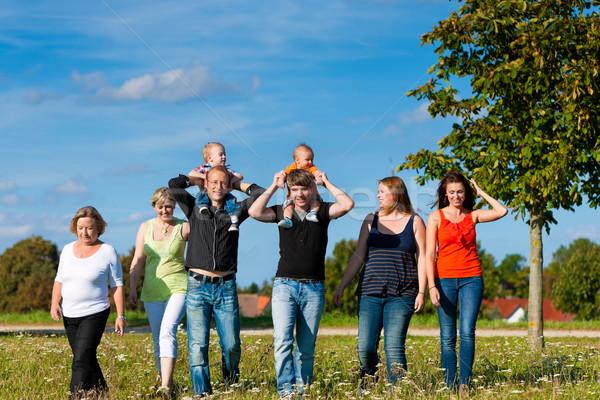 Family and multi-generation - fun on meadow in summer Stock photo © Kzenon