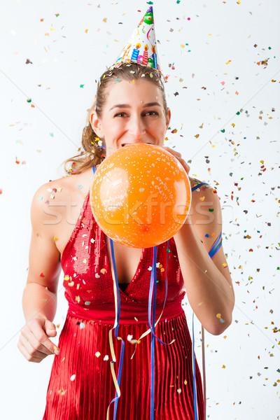 Donna compleanno pallone doccia confetti Foto d'archivio © Kzenon