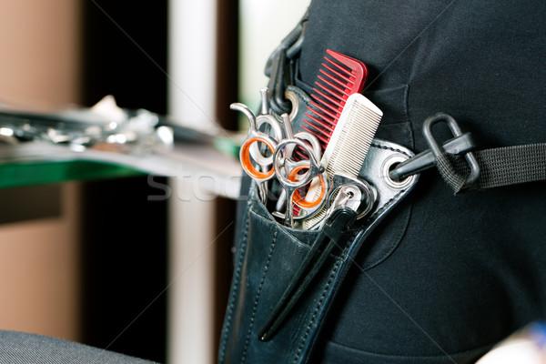 Scissor bag or holster of hairdresser Stock photo © Kzenon