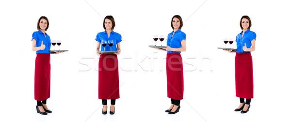 Asian serveerster vrouw geïsoleerd bezetting wijn Stockfoto © Kzenon