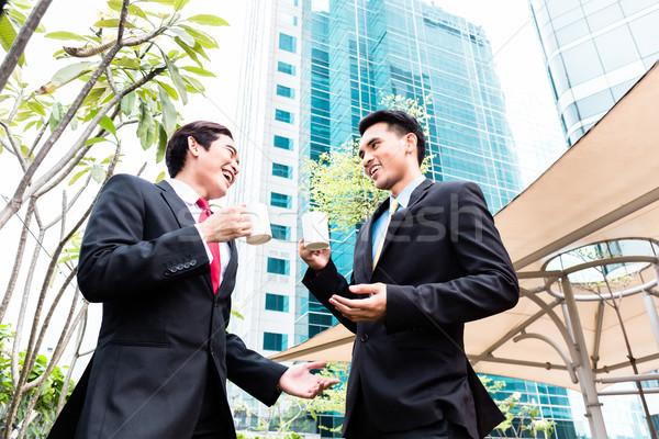 Stockfoto: Asian · drinken · koffie · buiten · zakenmannen