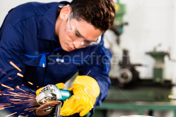 Foto stock: Asiático · trabalhador · metal · fabrico · planta · faíscas