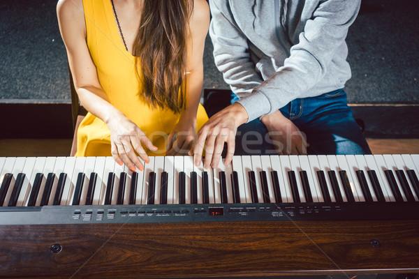 ストックフォト: ピアノ · 教師 · 音楽 · レッスン · 学生 · 学校