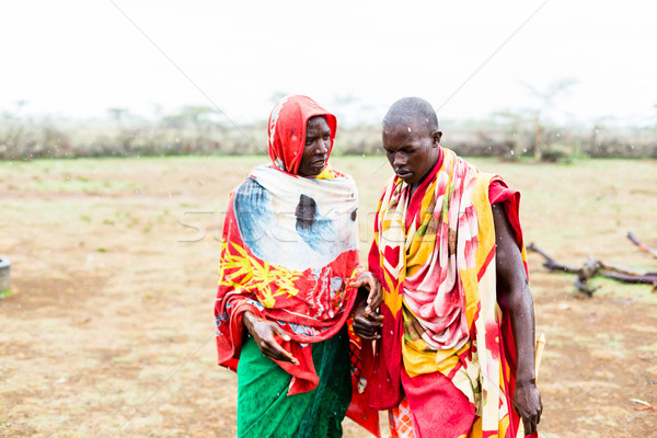 Two Massai men walking together  Stock photo © Kzenon