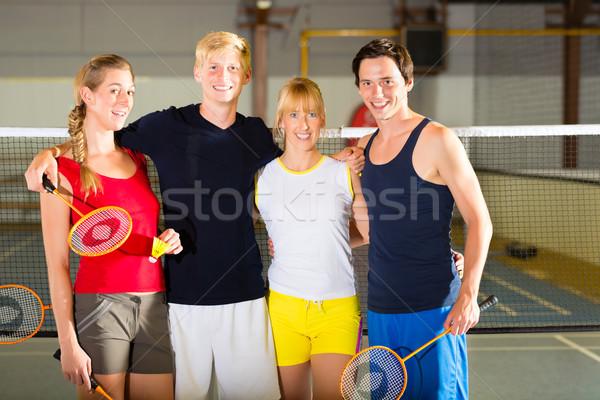 Ludzi sportu siłowni badminton grupy mężczyzn Zdjęcia stock © Kzenon
